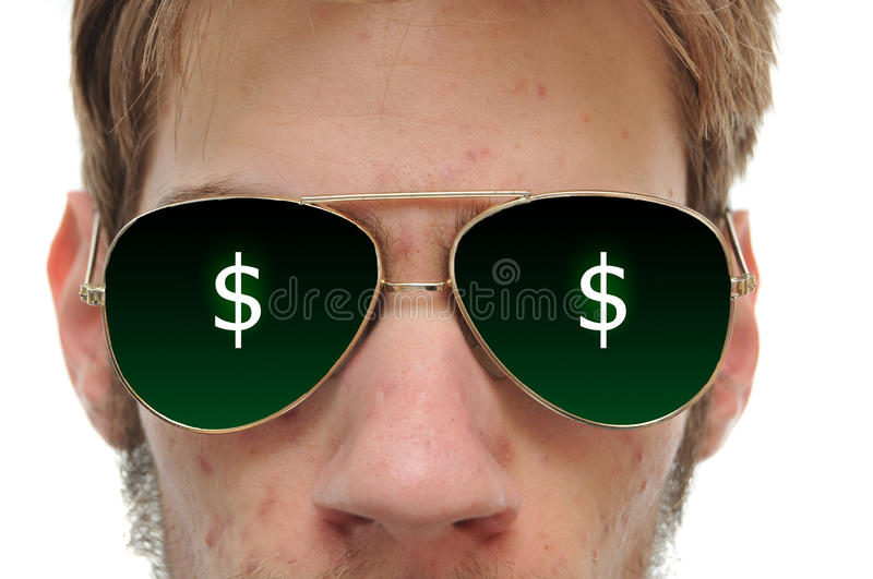 Close up of man with aviator sunglasses. Close up of man with aviators sun glasses on white background royalty free stock images