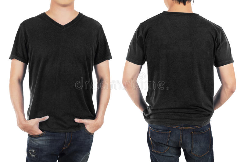 Close up of man in front and back black shirt on white background. stock photos