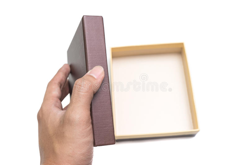 Close up of man hand with box royalty free stock photography