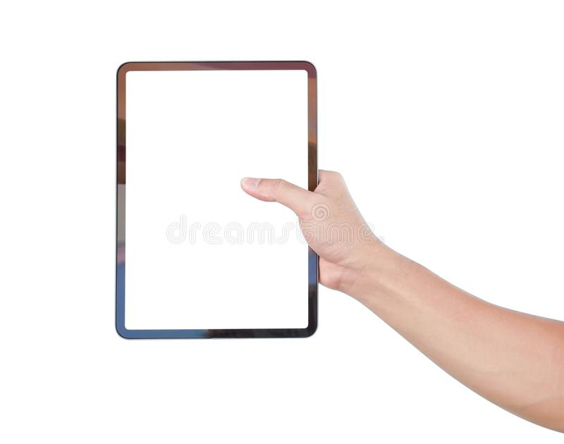 Close up man hand holding digital tablet computer with white screen for text or product advertising concept concept stock images