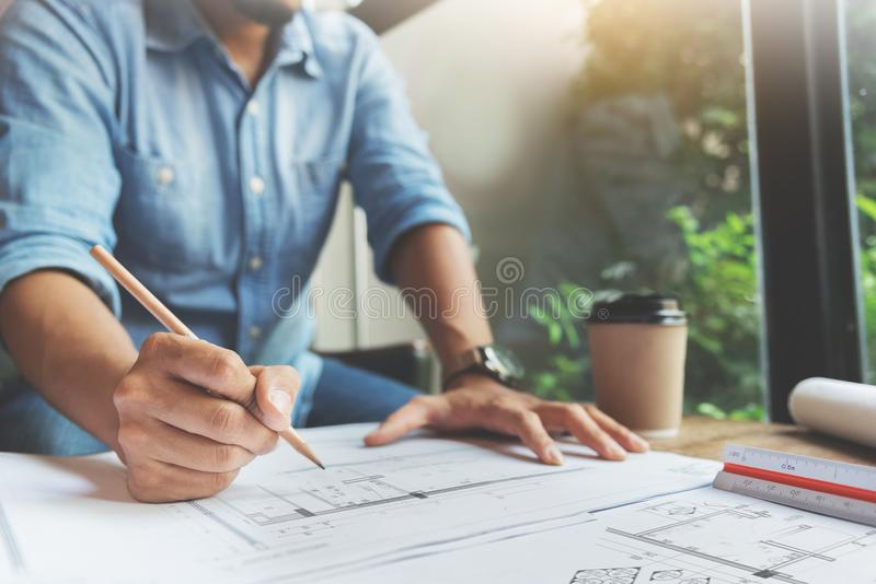 Close Up man hand writing on document papers royalty free stock photo