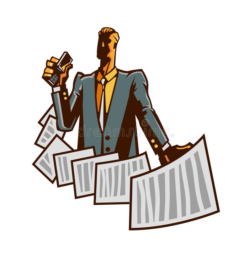 Close-up of man. Is holding a paper royalty free illustration