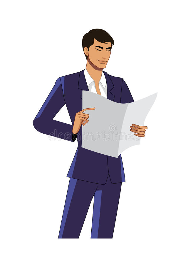 Close-up of man. Is holding a paper vector illustration
