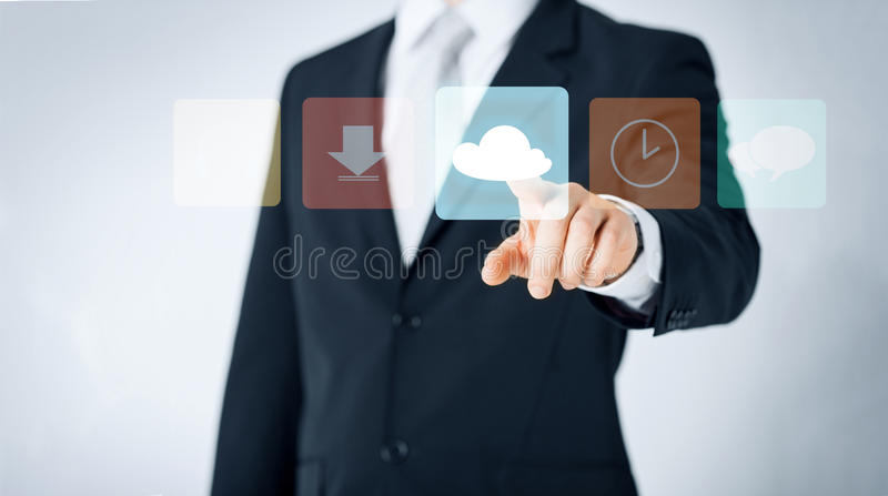 Close up of man pointing finger to cloud icon stock image