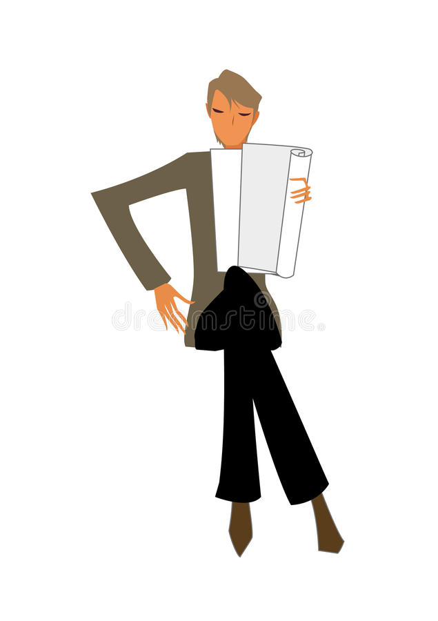 Close-up of man. Is reading a paper royalty free illustration