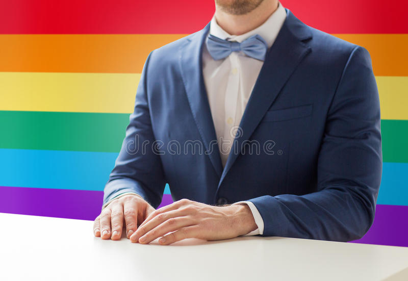 Close up of man in suit and bow-tie at table. People, gay, wedding and same-sex marriage concept - close up of best man or groom in suit and bow-tie at table stock photography