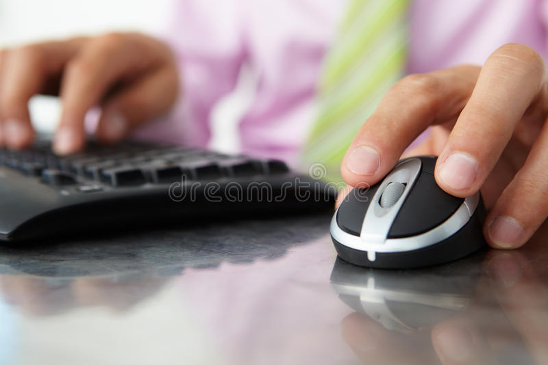 Download Close Up Man Using  Keyboard And Mouse Stock Image - Image of wireless, person: 20791681