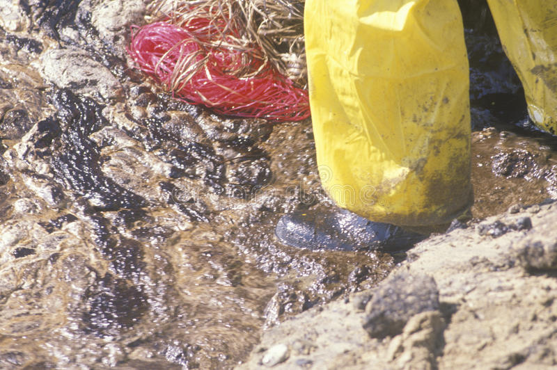 Close-up of a man walking through an oil spill in Huntington Beach, California stock images