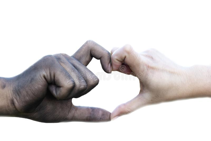 Close up man and woman hands touching holding together on blurred background for love valentine day concept, shake hand with a d. Irty hand and a clean, Stained stock photo