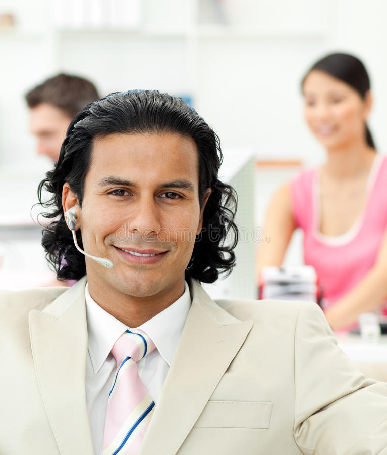 Download Close-up Of A Manager Talking On Headset Stock Image - Image of female, manager: 12715971