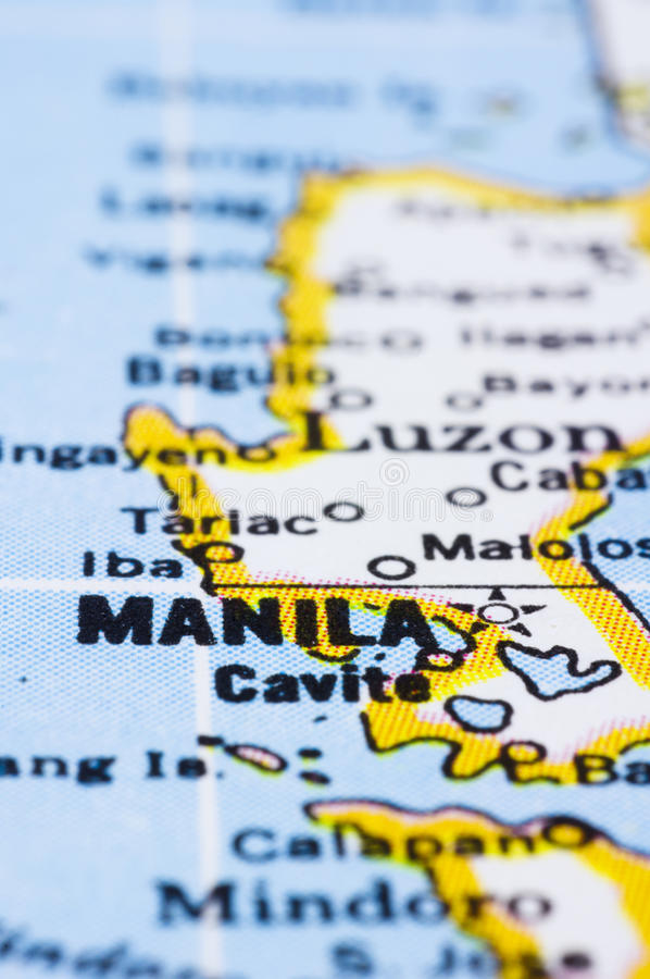 Close up of Manila on map, Philippines royalty free stock images