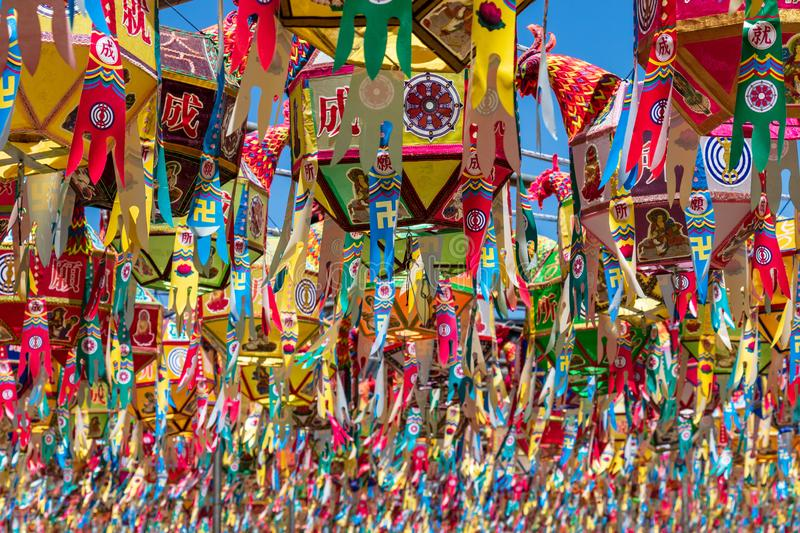Close up of many of beautiful paper lanterns for festival to celebrate the birthday of Buddha in South Korea. Guinsa Temple, stock photos