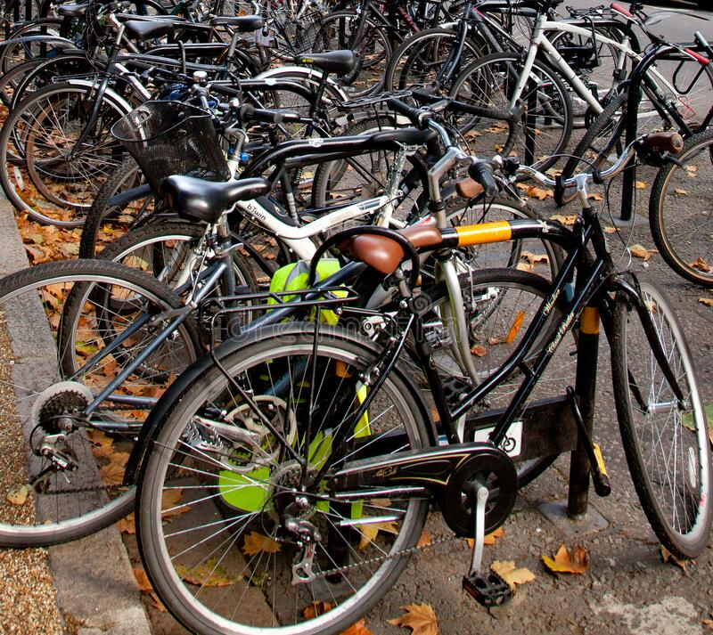 Close up of many bicycles chained up at on road bike parking. A cluster of various bicycles chained up to bike parking hoops royalty free stock images