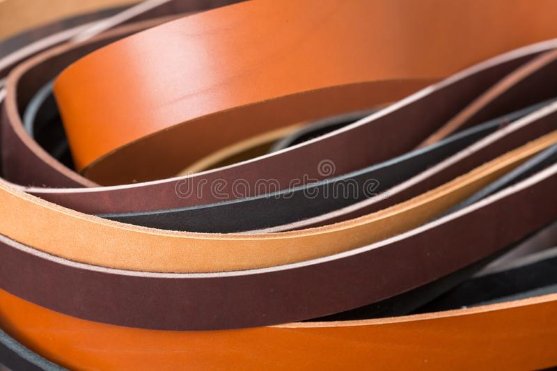 Many colored leather pieces close-up. Photo for background. stock photography