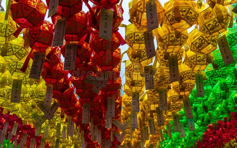 Close up of many colorful and beautiful paper lanterns. The festival celebrate the birthday of Buddha in South Korea royalty free stock images