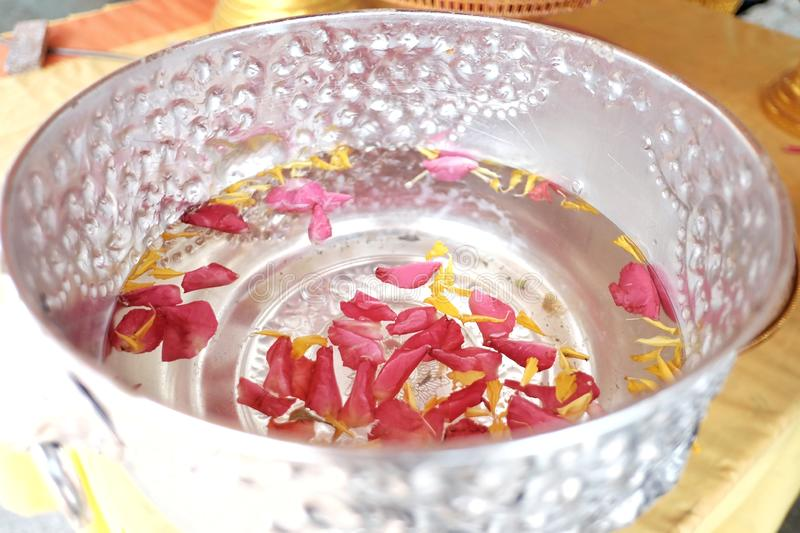 Close up many corollas of rose and marigold flower floating on a water surface in a silver bowl for Songkran festival in Thailand stock photos