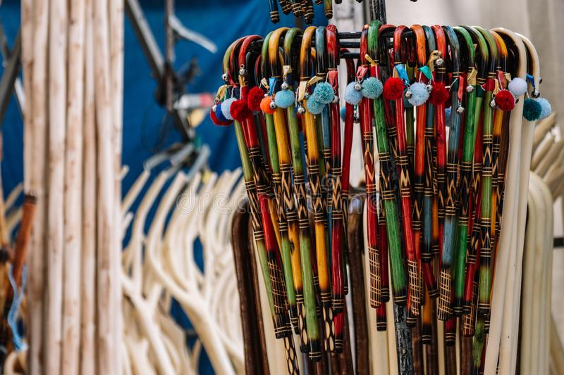 Close up of many little wooden sticks stock photography