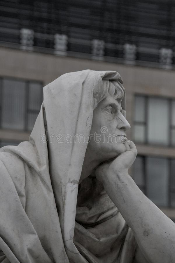 Male statue deep in thoughts royalty free stock photos