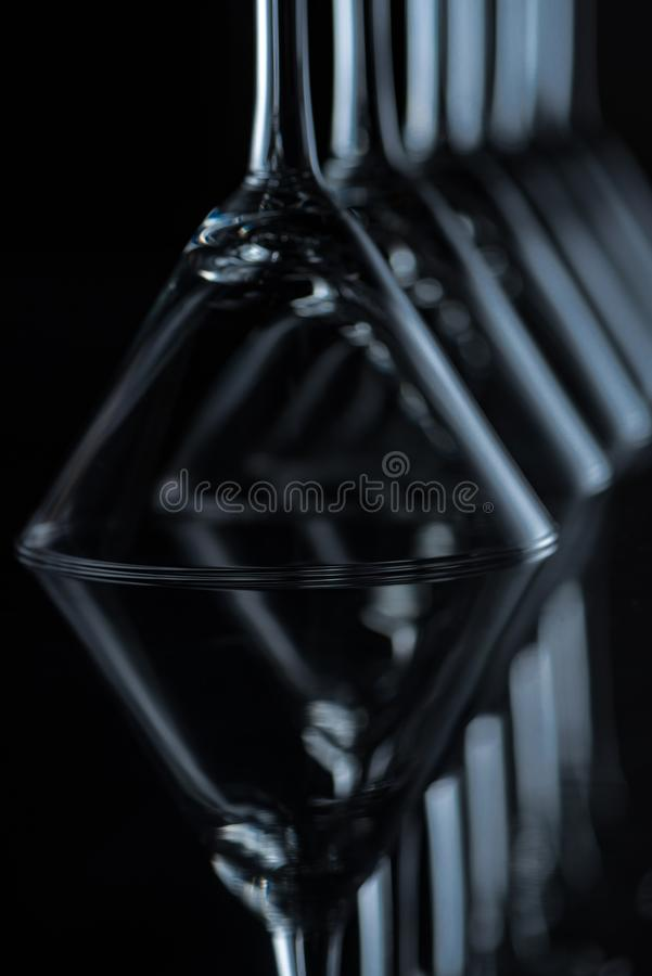 close up of martini glasses on black royalty free stock images