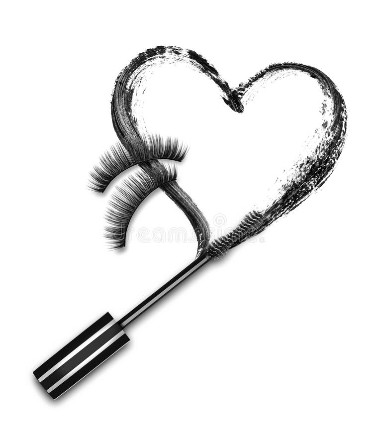 Close-up of mascara brush with black stroke royalty free stock images