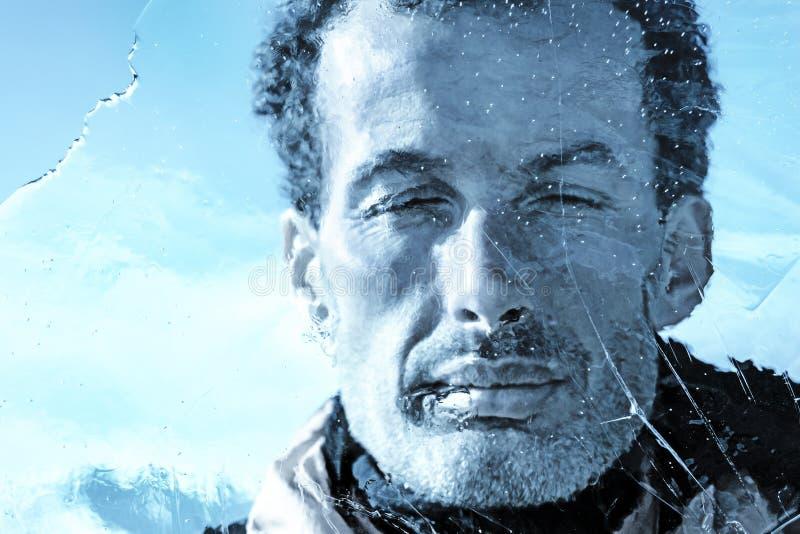 Close up masculino congelado da face imagens de stock royalty free