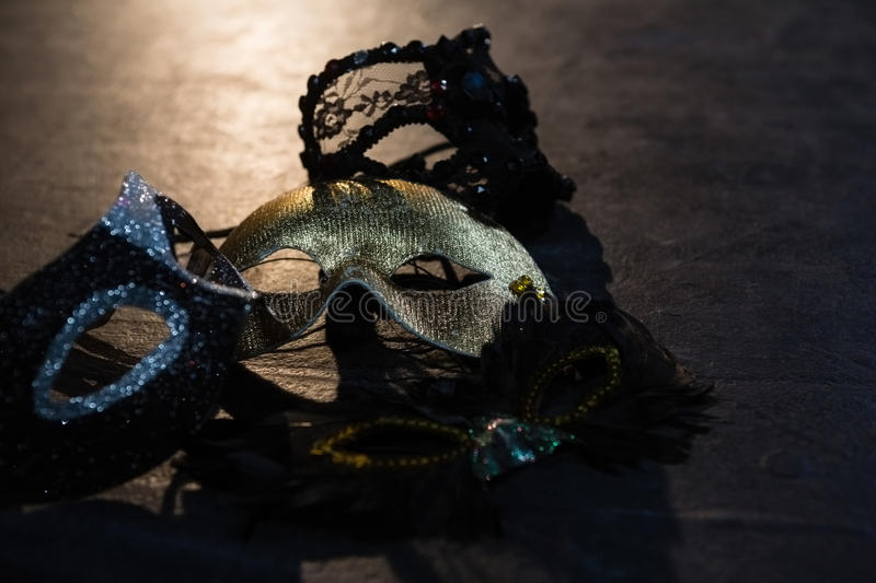 Masquerade masks on stage royalty free stock photography