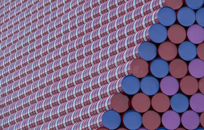 Close up of Mastaba art installation by Christo, floating on the Serpentine Lake in Hyde Park. Hyde Park, London UK. July 2018. Close up of Mastaba art royalty free stock image