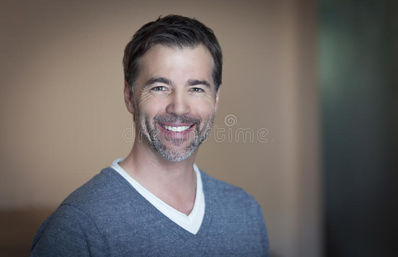 Close-up of a mature man smiling royalty free stock image