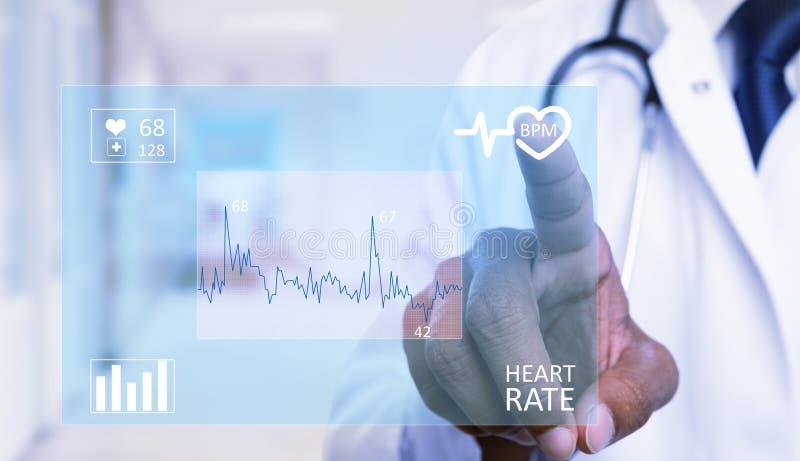 Close-up medic touching heart symbol on display royalty free illustration