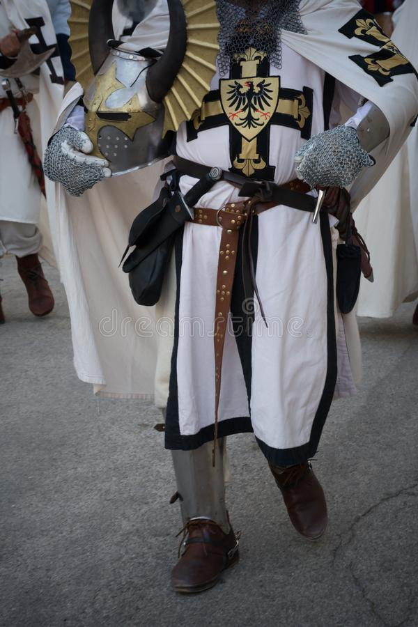 Close Up of Medieval Traditional Dress of Medieval Knight stock photo