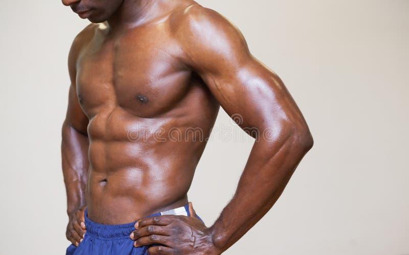 Close-up medio sectie van een shirtless spiermens stock foto's