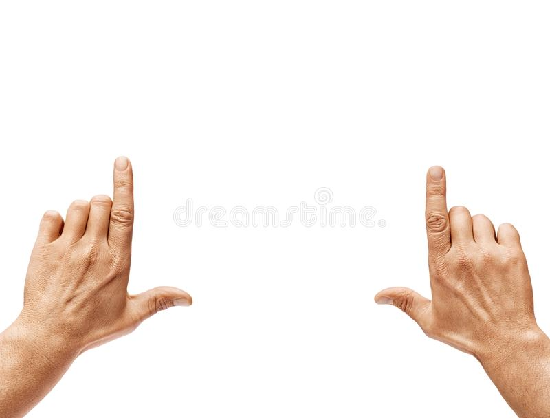 Close up of men`s hands making frame gesture royalty free stock image
