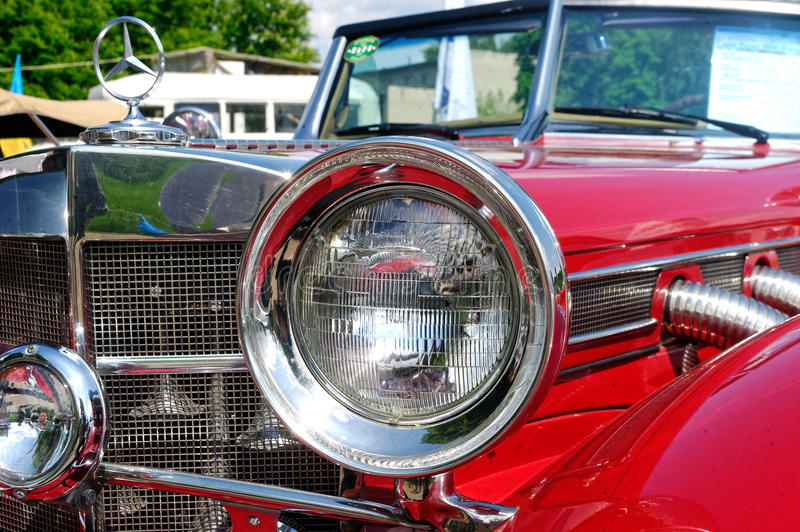 Close up of Mercedes-Benz Cabriolet vintage car - Stock image stock photos