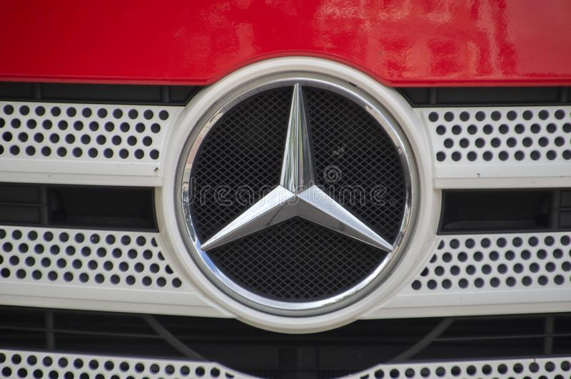 Close Up Of A Mercedes-Benz Logo On A Truck At Amsterdam The Netherlands 2019 stock photography