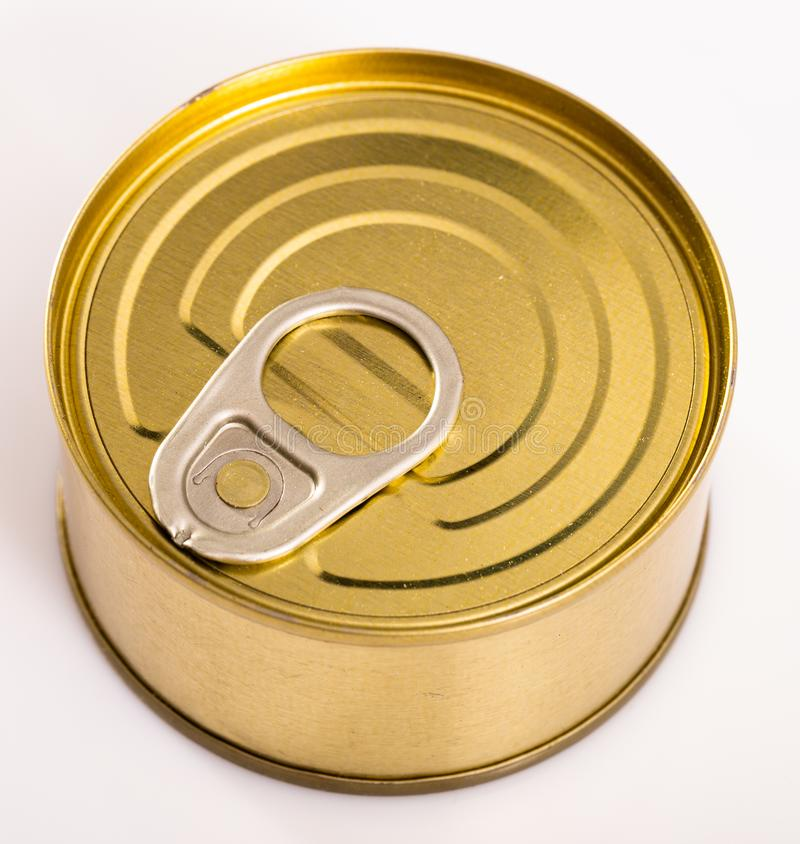 Close-up of metal bronze tin can on white background. Nobody stock photos