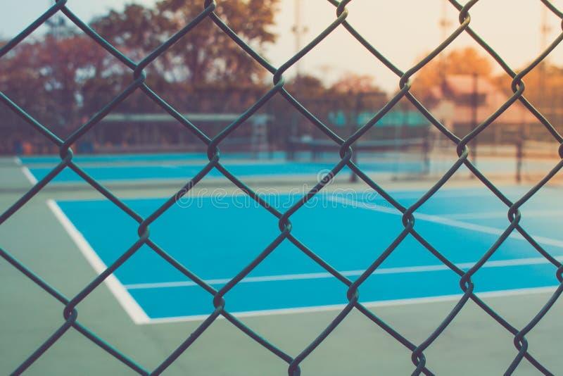 Tennis Court Through Fence Stock Photo Image Of Racket