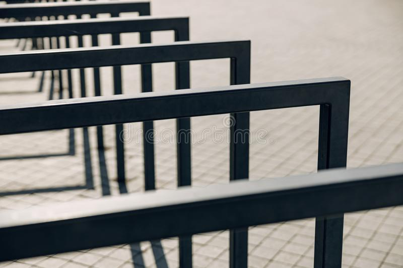 Close up of metal support that standing in line royalty free stock photos