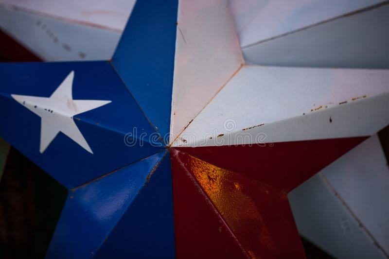 Close up of metal texas lone star. The star of Texas made of metal sheets stock photos