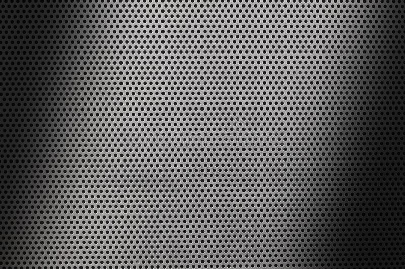 Close up on a metallic sheet texture with small holes and shades vector illustration