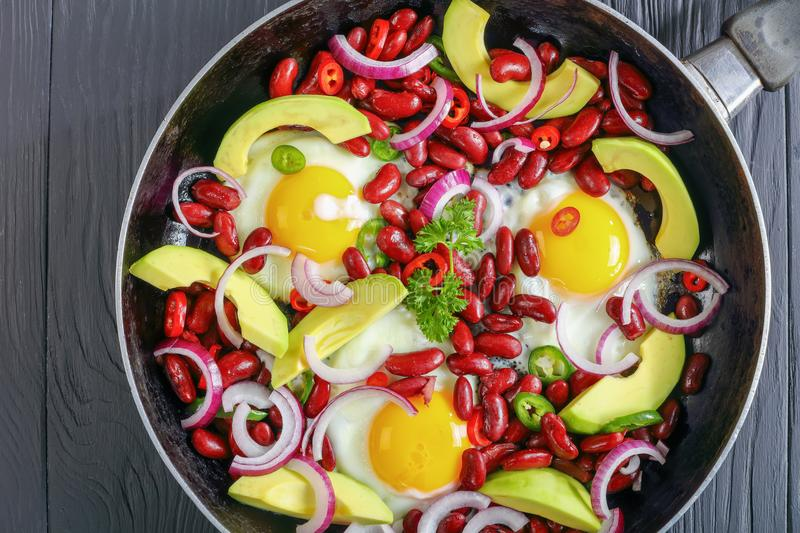 Close-up of mexican breakfast in skillet royalty free stock image