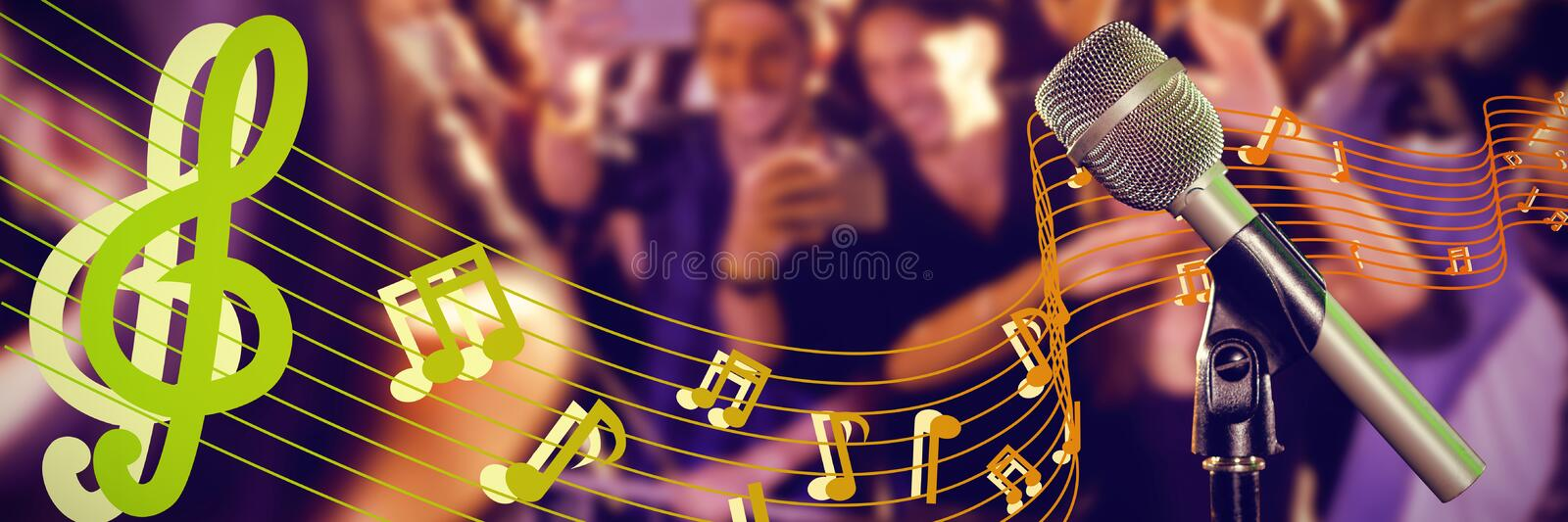 Composite image of close-up of microphone. Close-up of microphone against crowd photographing performer at nightclub stock photography