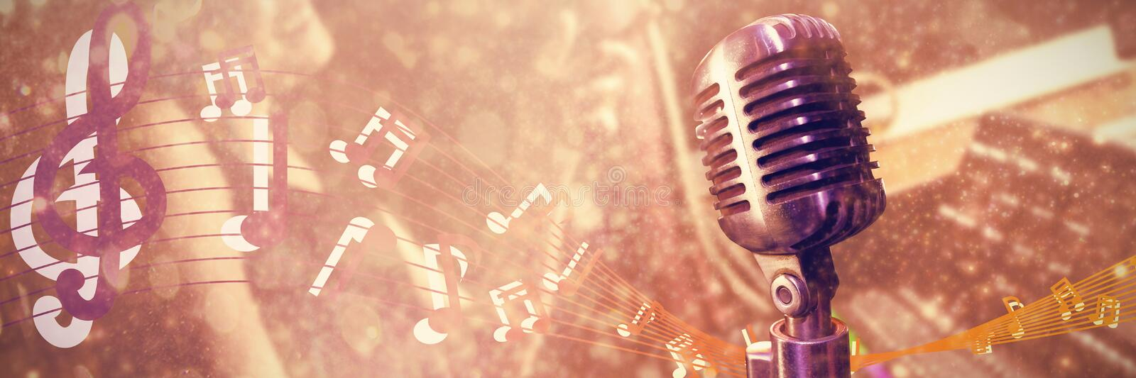 Composite image of close-up of microphone royalty free illustration