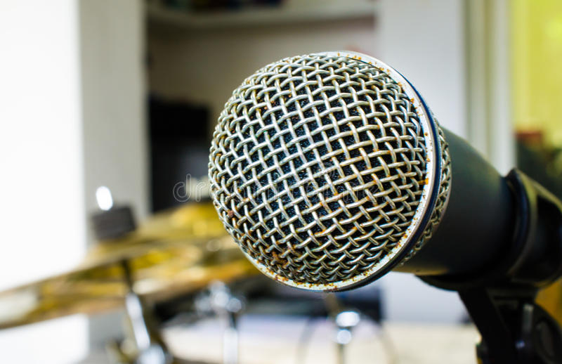 Close up of microphone in music room or conference room. Close up of microphone (microphone, karaoke, music royalty free stock image