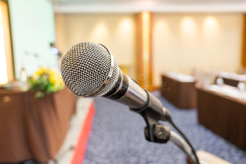 Close up microphone at seminar room.  royalty free stock image