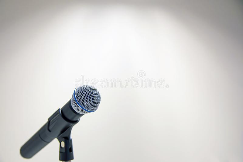 Close up microphone in studio stock photos