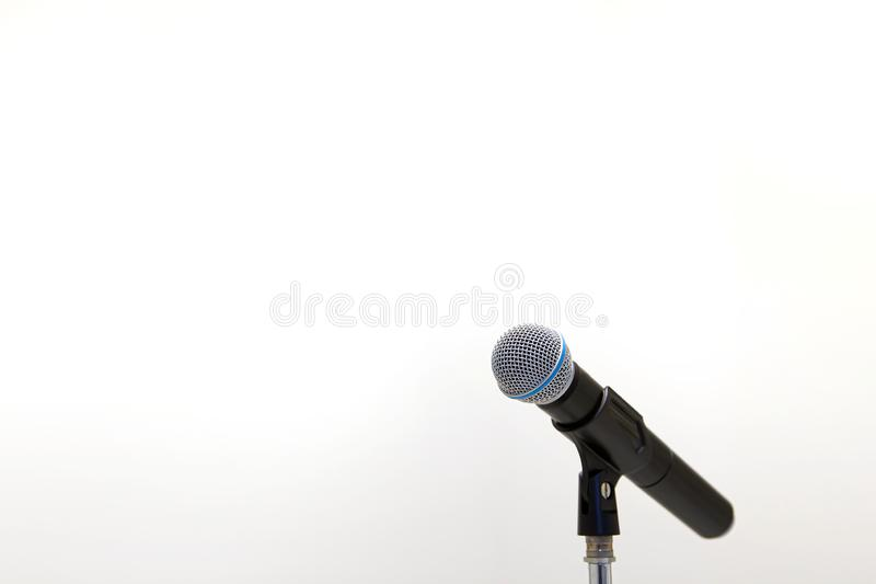 Close up microphone  in studio stock photography