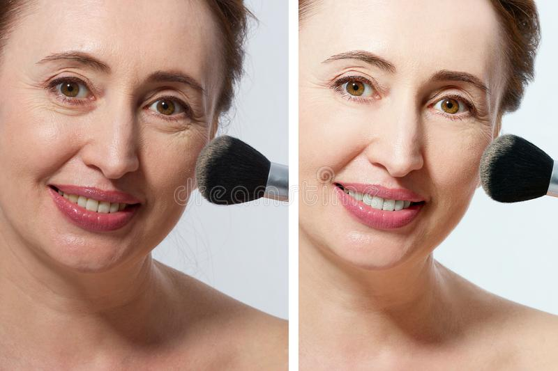Close up Middle Age Woman Applying Make-Up on Face. Anti Aging and Fashion Concept. Macro. Before after make up wrinkled face. stock photos