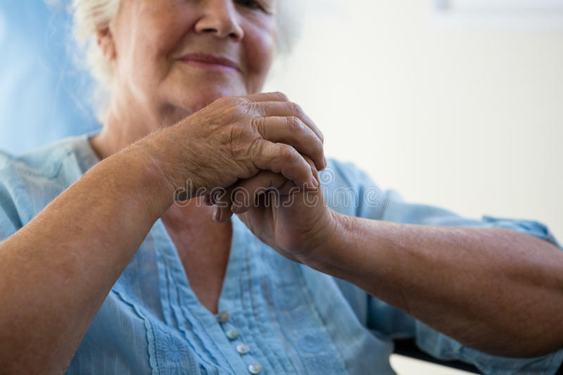 Close up midsection of senior woman royalty free stock images