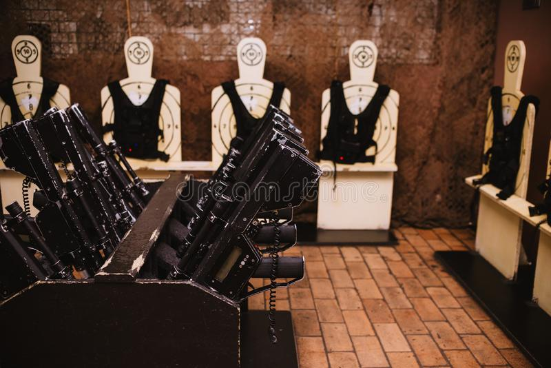 Close up on military equipment on laser tag game stock photography