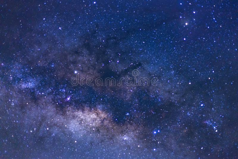 Close up of Milky way galaxy with stars and space dust in the un. Iverse royalty free stock photo